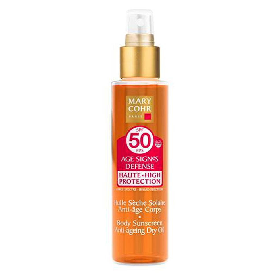 Mary Cohr Age Signes Defense Body Sunscreen Anti-ageing Dry Oil SPF 50, 51 € / 150 ml.