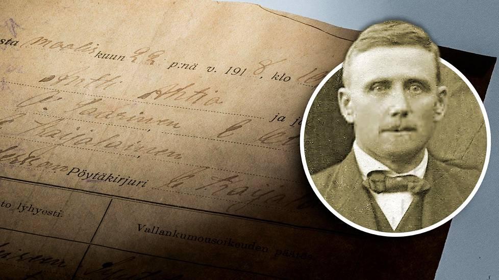 Vanhoista papereista ilmeni, että Tapio Aarre-Ahtion isoisoisä, puuseppänä tunnettu Antti Ahtio, oli toiminut vallankumousoikeuden puheenjohtajana vuonna 1918.