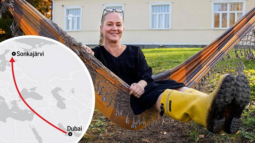 Johanna Loponen muutti Dubaista Sonkajärvelle luonnon keskelle.