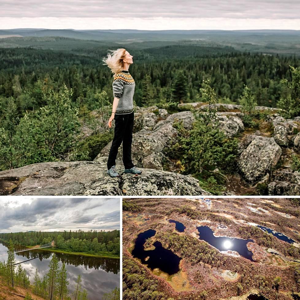 Yllä Syöte, alhaalla Urho Kekkosen Kansallispuisto ja Valkmusa.