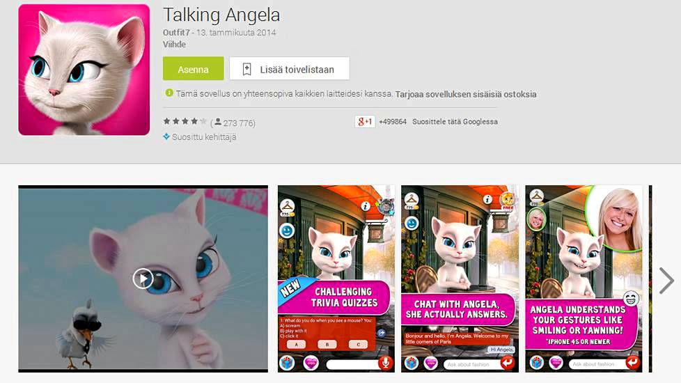 Talking Angela Googlen App Storessa.