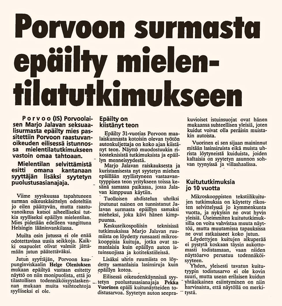 Pekka kiisti teon viimeiseen asti. Ilta-Sanomat 2.3.1988.