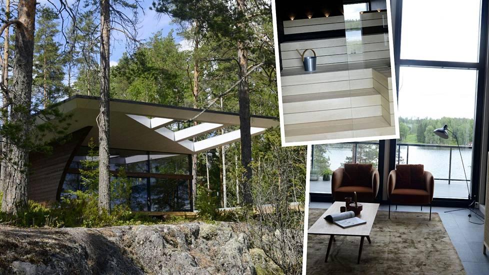 Arkkitehtuurinen taidonnäyte, Seppo Mäntylän piirtämä Wave (vas.) avautuu jylhine muotoineen järvelle. Messuilla nähdään myös ylellisiä vaaleita saunoja ja korkeita huoneita.