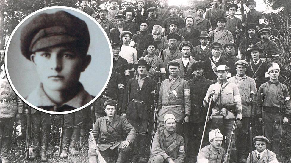 Joukko Lillierin hiihto-osaston sotilaita keväällä 1918 otetussa kuvassa. Pikkukuvassa 17-vuotias Joonas Korolainen.