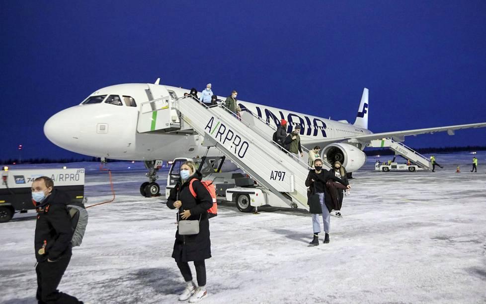 Finnairin lento perillä Kittilässä.