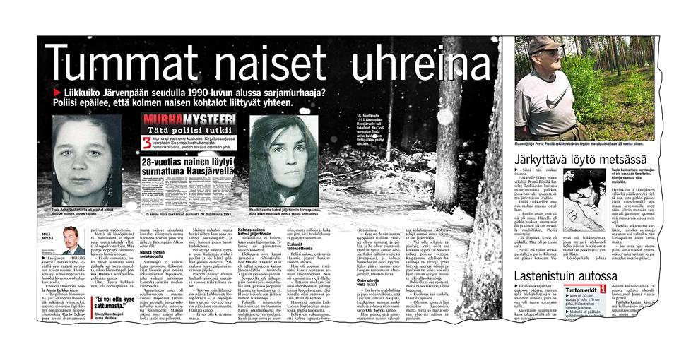 """""""Tummat naiset uhreina"""", kertoi vuoden 2006 juttu. Samaan kokonaisuuteen oli haastateltu myös Tuula Lukkarisen ruumiin löytänyttä maanviljelijää."""