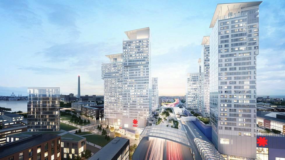 Tältä Kalasataman pitäisi näyttää 2023. Havainnekuvassa oikealla on Suomen ensimmäinen asuinpilvenpiirtäjä Majakka. Kalasataman pilvenpiirtäjissä on Manhattanin tyyliin aulapalvelijat. Tornitalojen yhteyteen tulee asukkaille yksityispuistot.