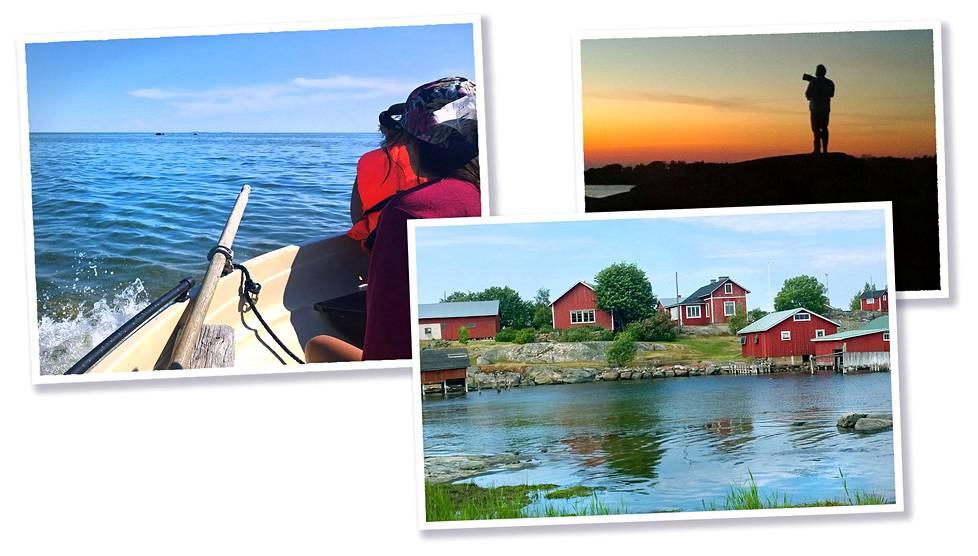 Veneretket kuuluvat kesään. Österskärin kalastajakylän rakennukset vilkkuvat iloisen punaisina.