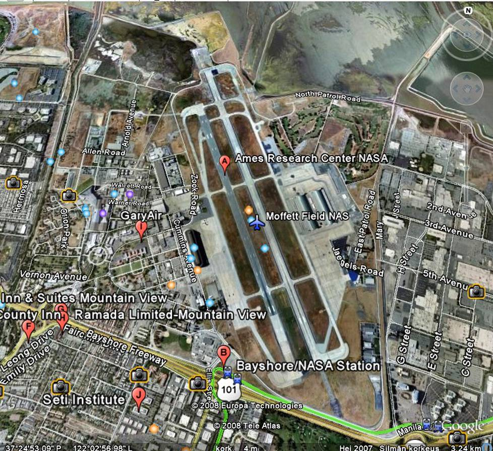 Nasa Ames Research Center Google Earth -palvelussa.
