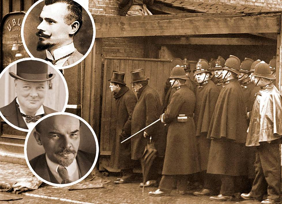 Sidney Streetin piiritys. Vyyhteen kietoutuivat salaperäinen maalari-Peter, Winston Churchill ja V.I. Lenin. Kuvassa silinteripäinen Churchill seuraa Sidney streetin tapahtumia paikan päällä joukon kärjessä.
