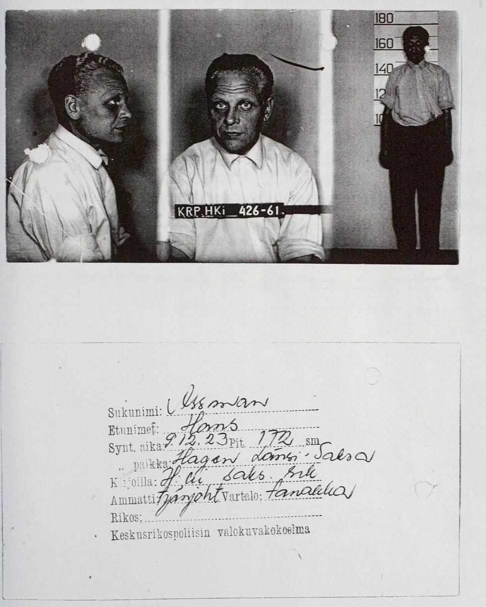 Hans Assmanin henkilökortti keskusrikospoliisin arkistosta.