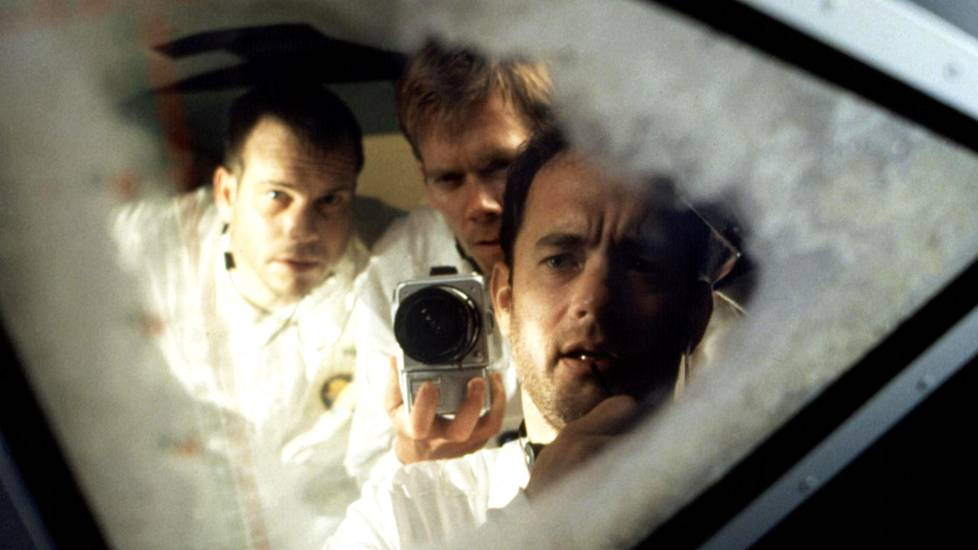 Apollo 13 -elokuvan Bill Paxton, Kevin Bacon ja Tom Hanks.