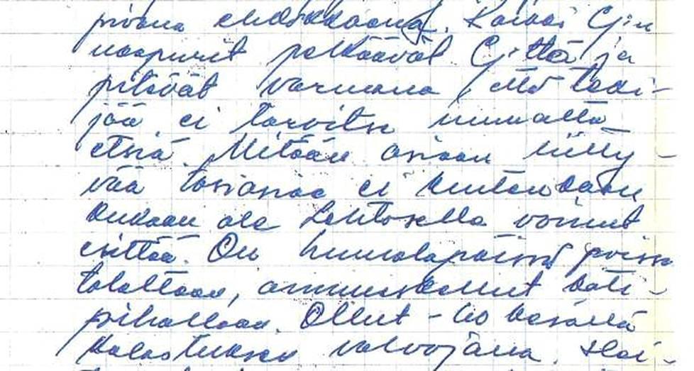 Osa KRP:n 1960-luvun asiakirjoista on käsin kirjoitettuja. Tässä kirjattuna naapuruston näkemyksiä kioskinpitäjästä.