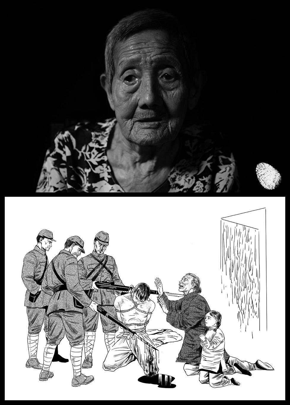 Zhang Lanying painoi kuvansa oikeaan alareunaan sormenjälkensä. Nanjingin miehityksen ensimmäisenä päivänä kolme japanilaista sotilasta tunkeutui Zhangin kotiin. He sitoivat vanhemman veljen Zhang Huaizhin ja iskivät pistimellä tätä reiteen. Juuri 8 vuotta täyttänyt Zhang vajosi äitinsä kanssa polvilleen anoen surkeina armoa. Isoveljen elämä säästyi.