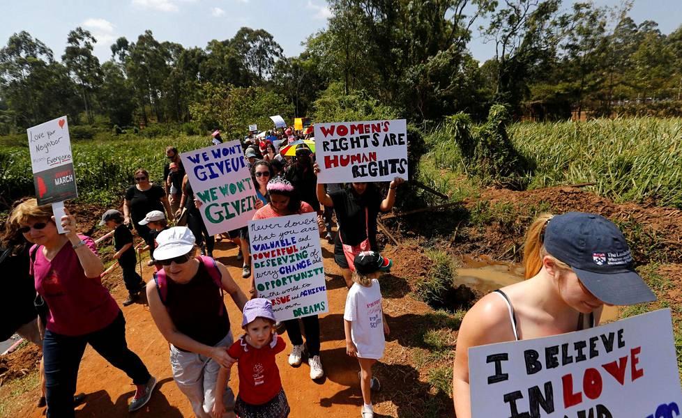 Myös Keniassa marssittiin.