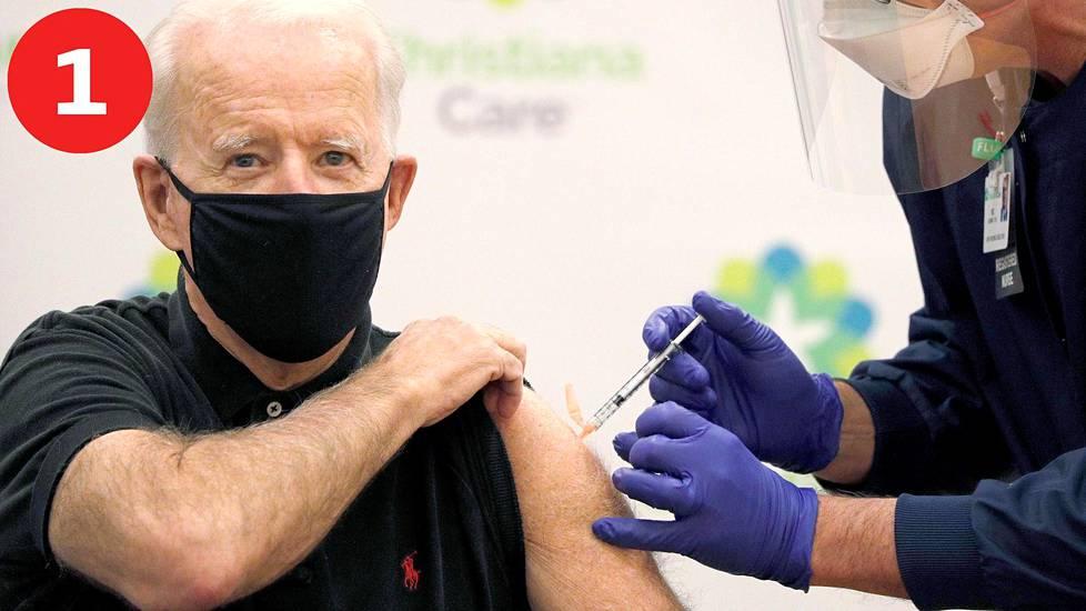 Korona: Vauhtia rokotuksiin. Joe Biden sai itse toisen rokoteannoksen maanantaina.