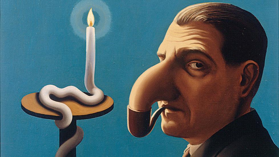 """""""Filosofin lamppu"""". Magritten työ on 1930-luvulta, jolloin hänen maineensa alkoi levitä Belgian ulkopuolellekin."""
