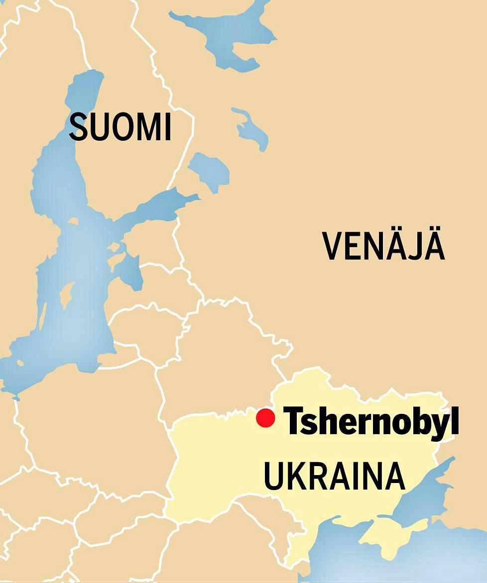 Tshernobyl sijaitsee Ukrainassa lähellä Valko-Venäjän rajaa.