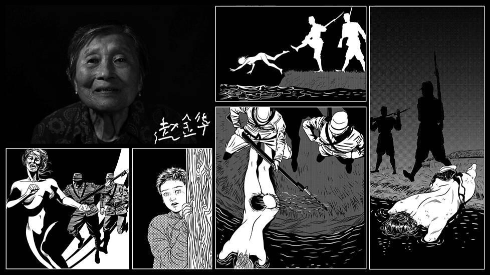 Zhao Jinhua oli joulukuussa 1937 vain 13-vuotias, kun hän joutui todistamaan kuinka hänen siskonsa ja isoäitinsä raiskattiin, silvottiin ja hukutettiin jokeen.