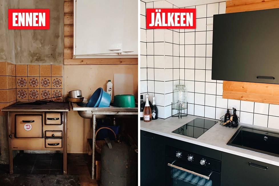 Keittiössä oli aiemmin puuhella. Sen ulkonäkö kyllä viehätti, mutta kovinkaan käytännöllinen se ei ollut. Uusittu keittiö on moderni, mutta se sopii 70-luvulta olevaan mökkiin.