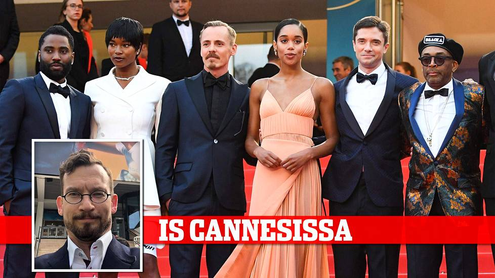 Videoartikkeli, John David Washington, Damaris Lewis, Jasper Pääkkoöen, Laura Harrier, Topher Grace ja Spike Lee punaisella matolla Cannesissa.