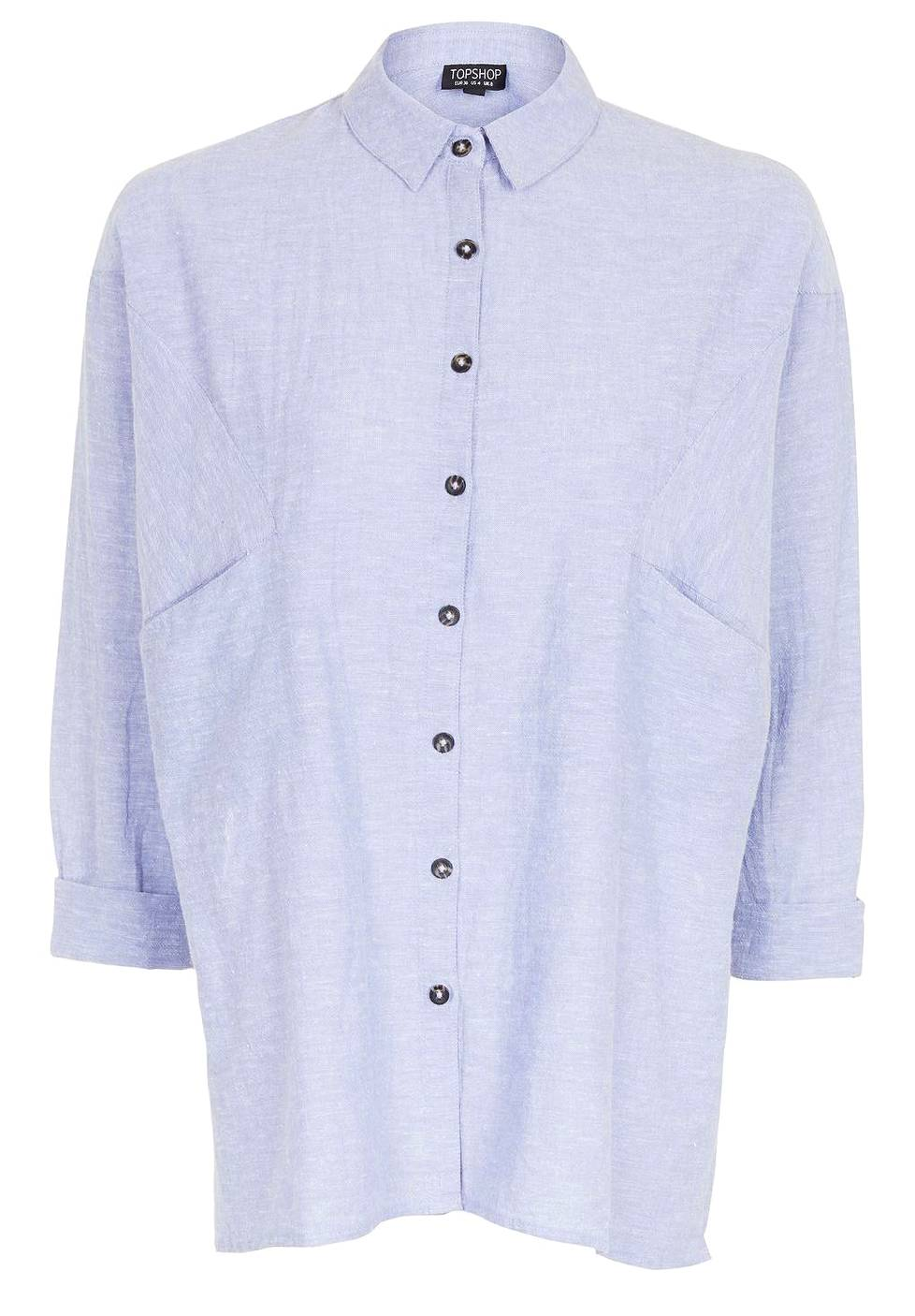 Oversized Neppy Chambray Shirt 44 €, Topshop