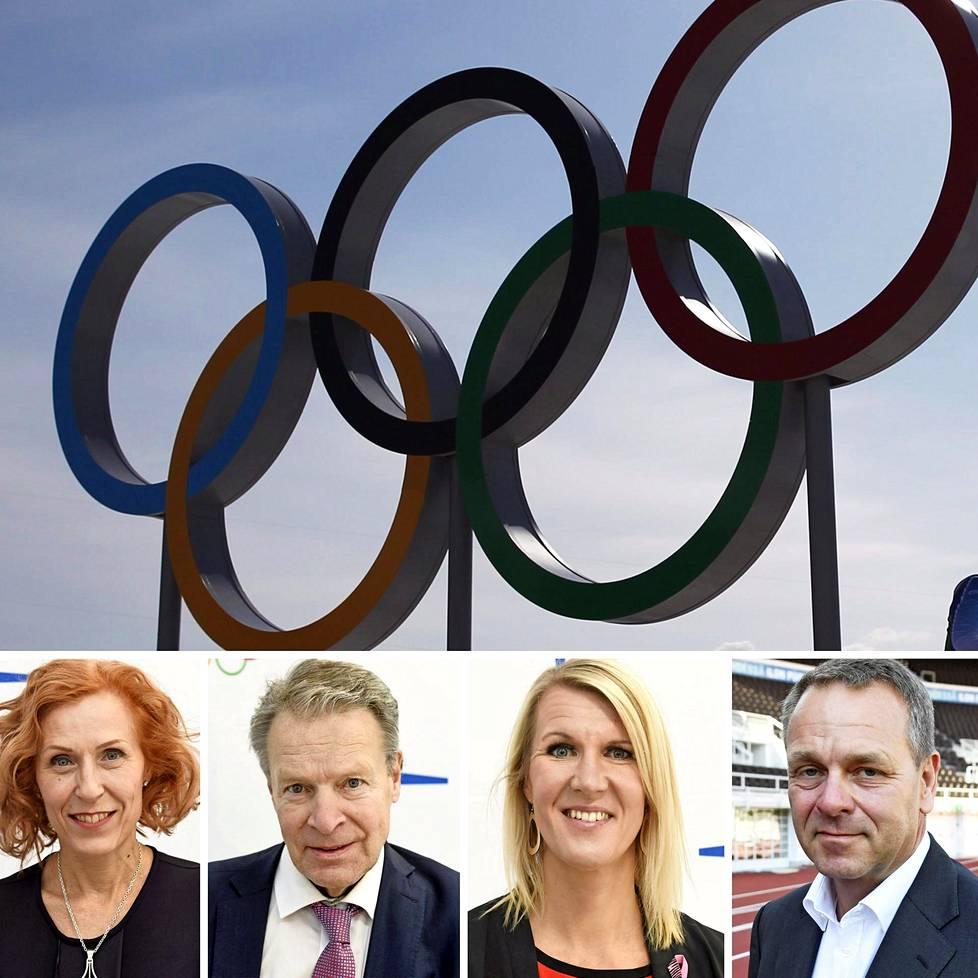 Olympiakomitean puheenjohtajaksi ovat ehdolla Susanna Rahkamo (vas.), Ilkka Kanerva, Sari Multala ja Jan Vapaavuori. Uusi puheenjohtaja valitaan 21. marraskuuta.