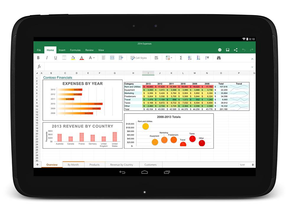 Excel Android-tabletissa.