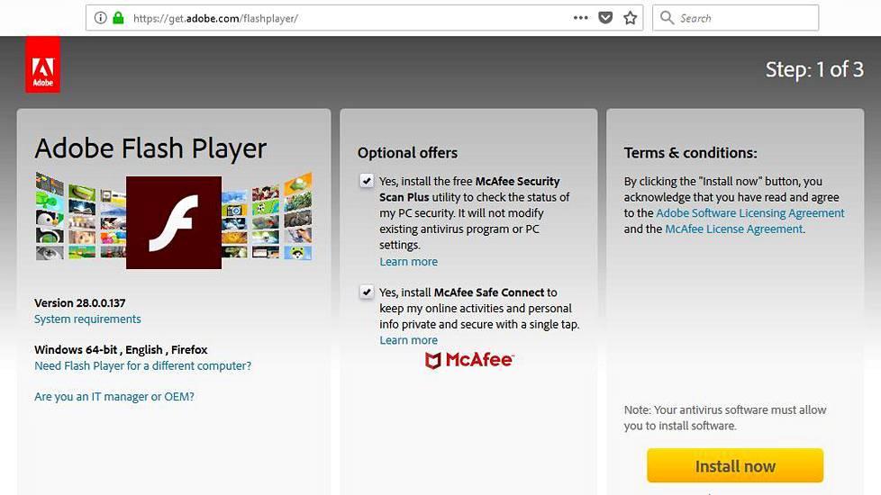 Kirjoitushetkellä Adobe tarjoaa ladattavaksi turvatonta versiota Flash Player -ohjelmistosta. Jos lataat päivitetyn version käsin, poista ruksit Optional offers -kohdista. Kuvakaappaus Adoben verkkosivuilta.