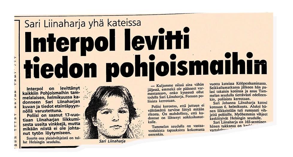 Ilta-Sanomat 29. huhtikuuta 1987. Tapausta käsiteltiin lehdissä ja etsintäkuulutus annettiin myös Interpolille.