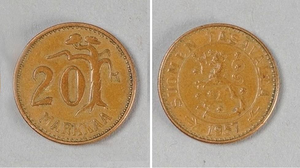 Kuolinpesästä löytyi erittäin harvinainen 20 markan kolikko – tällaista ei pitäisi olla ...