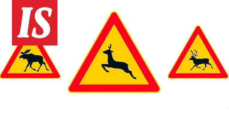 Hirvistä ja poroista varoittavan liikennemerkin lisäksi teiden varsille tuli uusi eläinvaroitus