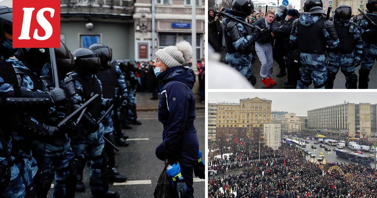 Mielenosoittajien ja poliisin välillä yhteenottoja Moskovassa  yli...