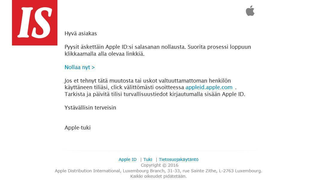 Apple Id Sähköposti