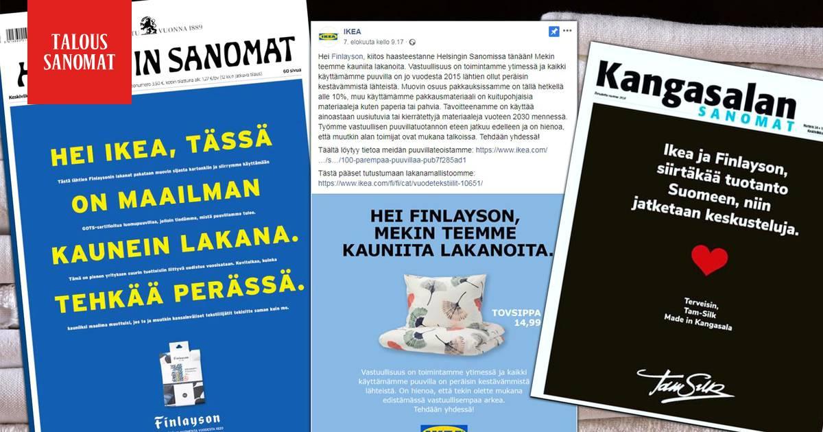 Finlayson haastoi Ikean Helsingin Sanomien etusivulla, Ikea kuittasi somessa