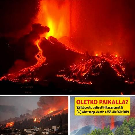 Tulivuori purkautuu La Palman saarella.