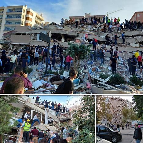 Paikalliset etsivät selvinneitä romahtaneen rakennuksen raunioista maanjäristyksen jälkeen Izmirin kaupungissa Turkissa.