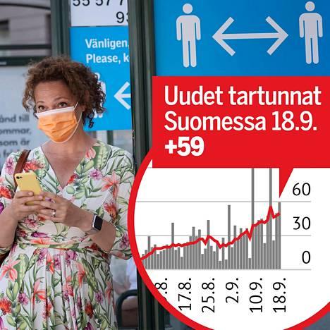 Matkustaja oli suojautunut kasvomaskilla bussipysäkillä Tukholmassa.